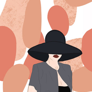 Pop art print of a woman wearing a grey shirt over a black tank top and a giant black hat obscuring her face other than her dark red lips. Salmon and tan oblong shapes are placed behind her.