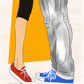Art print with illustration of man and woman wearing Converse sneakers facing one another, with an orange geometric shape bhind them.