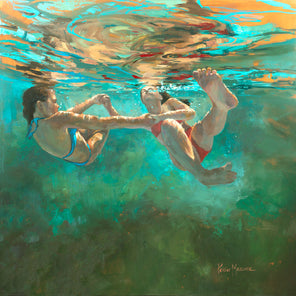 A figurative painting of two girls holding hands and swimming underwater.