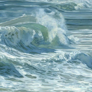 rolling waves on a side angle with tones of blue, green and white