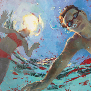 A figurative painting of a boy and girl in the pool with an underwater perspective.