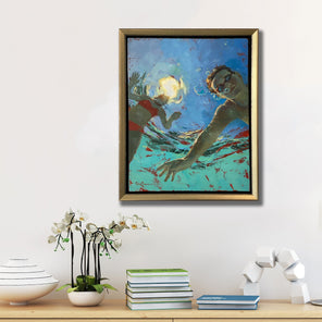 Michele Poirier-Mozzone's painting, Escapade, on canvas in a gold frame, hanging on a white wall above a natural wood console.
