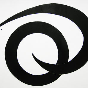 A black and white abstract painting by Kiyoshi Otsuka.