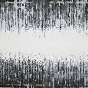 An abstract black and white painting which is predominantly white at the horizontal center of the piece.