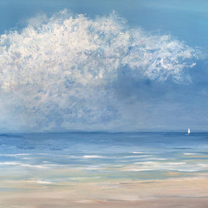 An impressionistic seascape painting, with textured clouds and a small sailboat on the horizon.