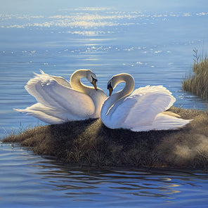 A  contemporary realist painting of two swans resting on the bank of a body of water.