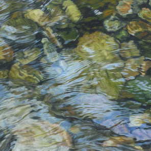 Painted scene of reflective water rippling over rocks at the bottom of a shallow river.