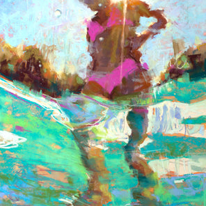 An abstract figurative pastel of a girl in a pink bikini abstracted in aqua water.