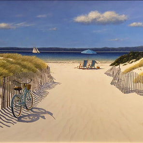 A contemporary realist painting of a beach entrance on either sides of the entrance are rolling dunes. The path opens up to a beach with soft sand, where someone has set up two blue beach chairs with a matching umbrella. Off in the distance is a lone sailboat.