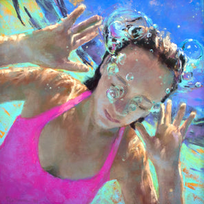 A pastel of a girl in a pink swimsuit underwater, with bubbles coming out of her nose.