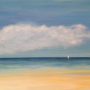 Realist painting of sail boat in the ocean during the afternoon.
