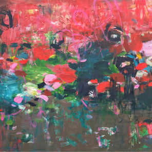A abstracted floral painting with a vibrant red, turquoise, and grey backdrop and strokes of pink and green accents.