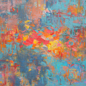 A painted abstract floral scene with a combination of deep and bright blue, and broad strokes of yellow, orange, red.