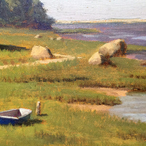 A close up detail of the blue dinghy near the shore from Robert Tinney's painting, June Sun.