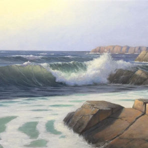 A painted scene of rolling waves crashing along a rocky coast.