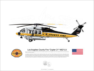 "Los Angeles County Fire FIREHAWK ""Copter 21"" N821LA"