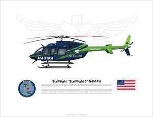 "StatFlight ""StatFlight 5"" N401PH Bell 407 - Dark paint scheme"