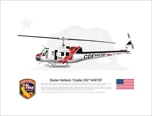 CAL FIRE Bieber Helitack Bell UH-1H Huey 'Copter 202' N497DF