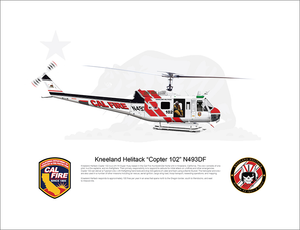 CAL FIRE Kneeland Helitack Bell UH-1H Huey 'Copter 102' N493DF - FLYING with Crew