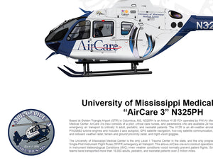 U of Mississippi Airbus EC135 AirCare 3 N325PH FLYING