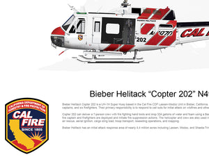 "CAL FIRE Bieber Helitack ""Copter 202"" N497DF with Hoist 2018 Paint Scheme"