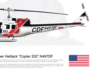 CAL FIRE Bieber Helitack Bell UH-1H Huey 'Copter 202' N497DF [Crew Customized]