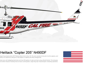 CAL FIRE Vina Helitack Bell UH-1H Huey 'Copter 205' N490DF