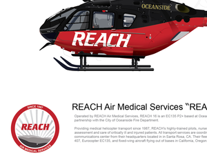 "REACH Air Medical Services Airbus EC135 ""Reach 16"" N313RX Oceanside"