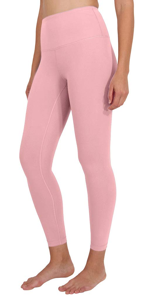 High Waist Ultra Soft Lightweight Leggings - High Rise Yoga Pants - Sweet Bonbon Ankle Length - Small