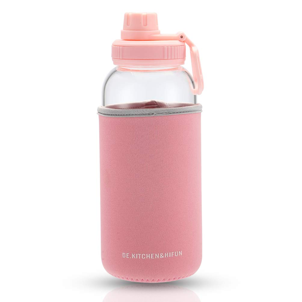 DE.KITCHEN&HIFUN 33OZ Sports Water Bottles with Waterproof Carrying Case, Large Capacity Borosilicate Glass Bottle Twisted Cap (Pink, 33-Ounce)