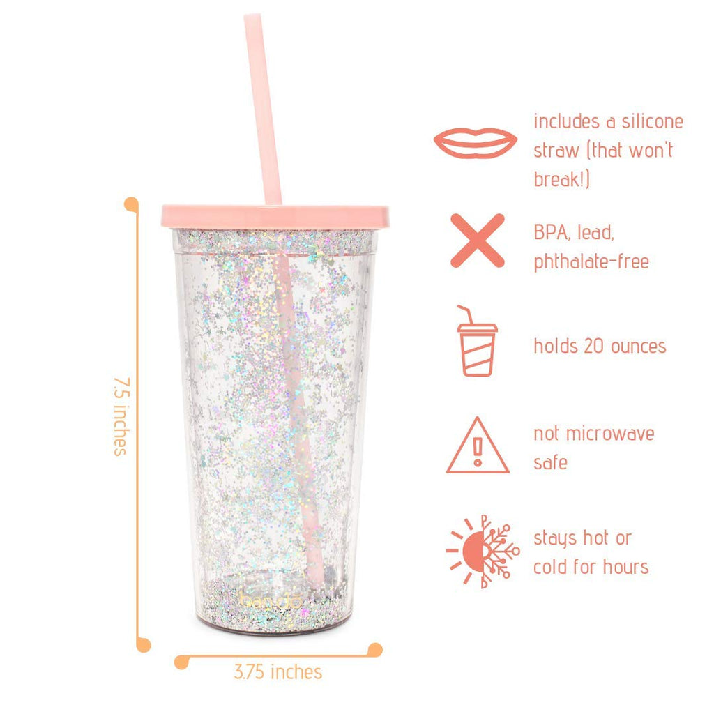 Metallic Insulated Deluxe Sip Sip Tumbler With Reusable Silicone Straw, 20oz (Glitter Bomb)