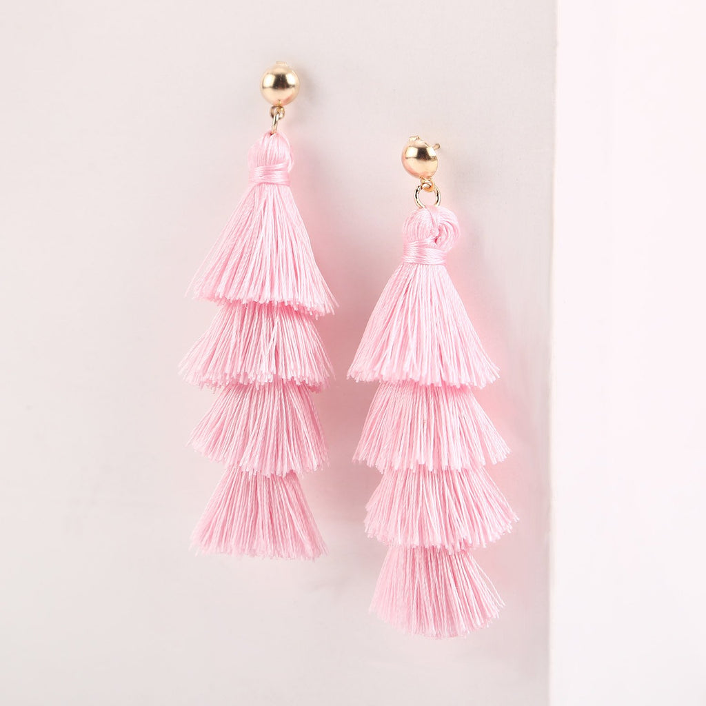 Pink Thread Tassel Drop Statement Jewelry for Women Girls