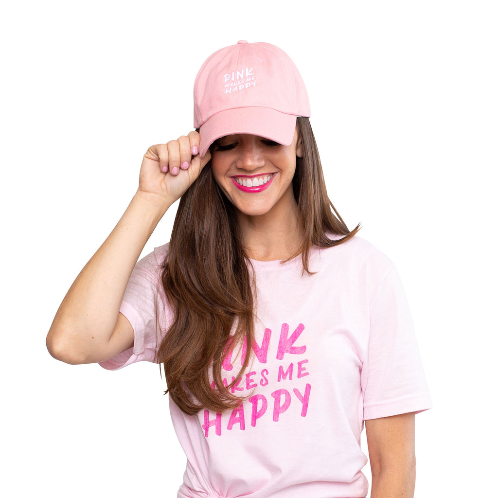 """Pink Makes Me Happy"" Pink Baseball Cap"
