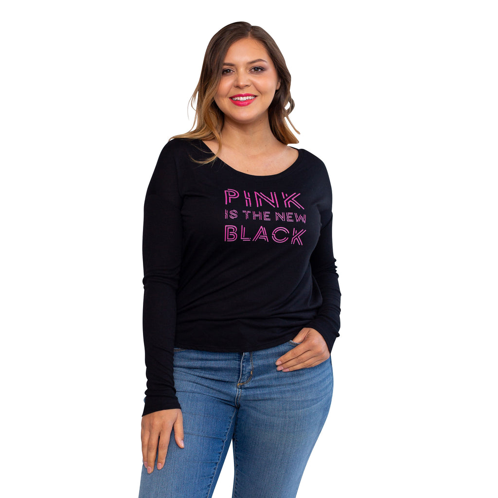 """Pink is the New Black"" Soft Long Sleeve Scoop Neck"
