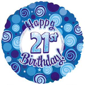 Happy 21st Birthday Blue Dazzle