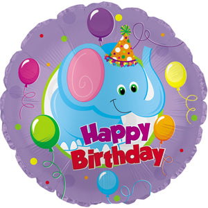 Happy Birthday Party Elephant Air-Filled Stick Balloon
