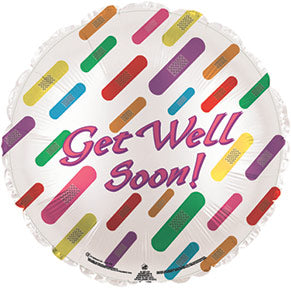 Get Well Bandaids Air-Filled Stick Balloon