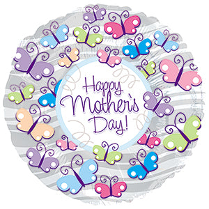 Happy Mother's Day Butterflies with Silver Stripes Air-Filled Stick Balloon