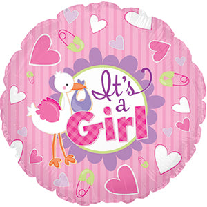 It's a Girl Stork Air-Filled Stick Balloon