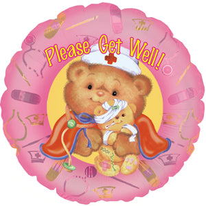 Get Well Nurse Bear Air-Filled Stick Balloon