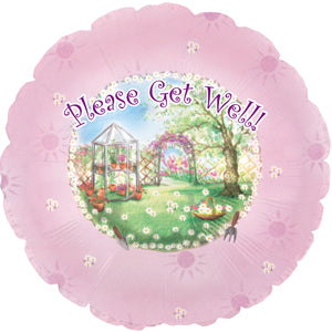 Get Well Garden Air-Filled Stick Balloon