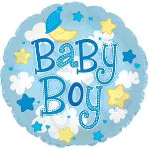 Baby Boy Clouds (Clear) Air-Filled Stick Balloon