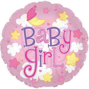 Baby Girl Clouds (Clear) Air-Filled Stick Balloon