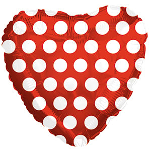Red with White Polka Dots Heart