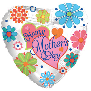 Happy Mother's Day Jewel Flowers Air-Filled Stick Balloon