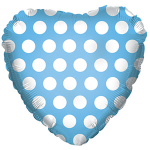 Blue with White Polka Dots Heart