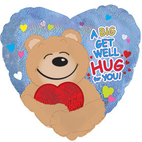 Get Well Hug Air-Filled Stick Balloon
