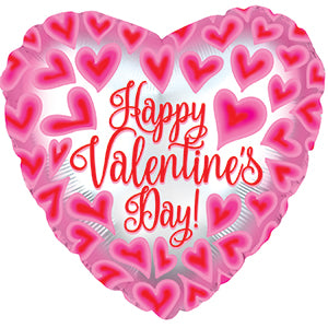 Happy Valentine's Day Pink and Red Hearts All Over