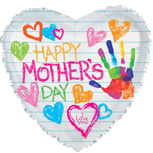 Happy Mother's Day Hearts & Hand Print