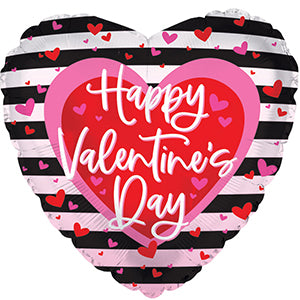 Happy Valentine's Day Black Stripes